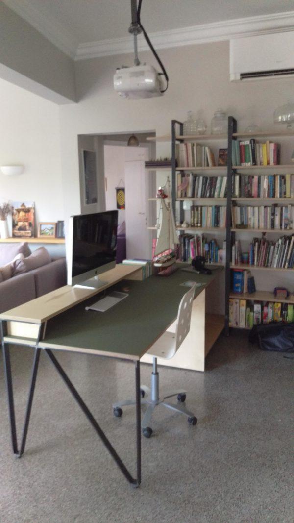 Βιβλιοθήκη – Γραφείο ,μέταλλο και ξύλο